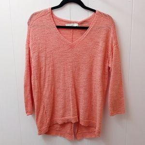 loft pink orange salmon lightweight sweater top